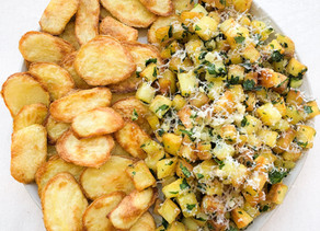 Crispy, garlicky parsley potatoes + leftover crispy wedges