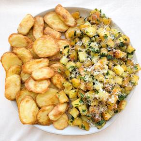 Crispy, garlicky parsley potatoes + leftover crispy wedges