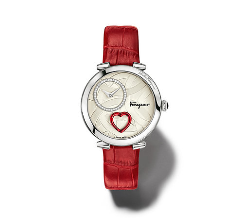 FERRAGAMO CUORE WATCH STEEL/RED