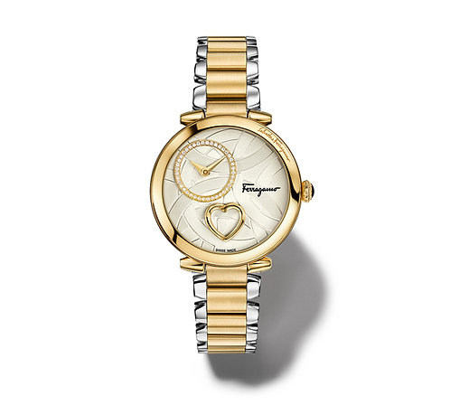 FERRAGAMO CUORE WATCH IP GOLD/SILVER