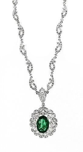 Emerald and Diamond Flower Necklace
