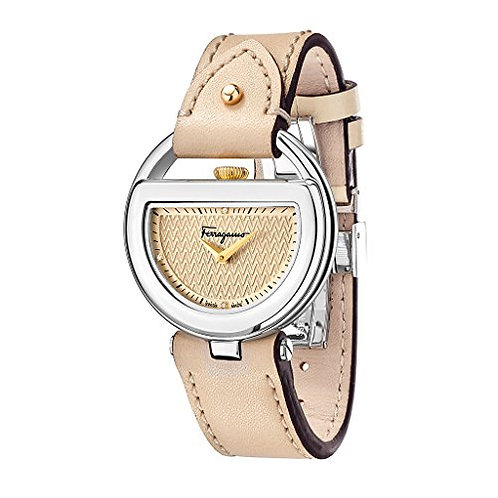 FERRAGAMO BUCKLE WATCH IP STEEL/BEIGE LEATHER