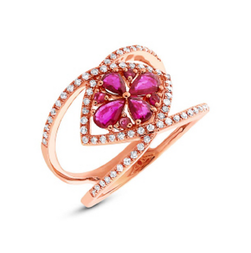 'DELICATE ROSE' Ruby Ring