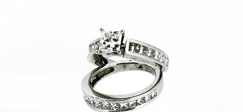 Gold and Diamond Wedding Set (Band and Engagement Ring)