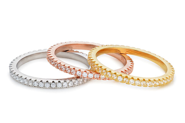 Stackable rose, white, and yellow gold rings