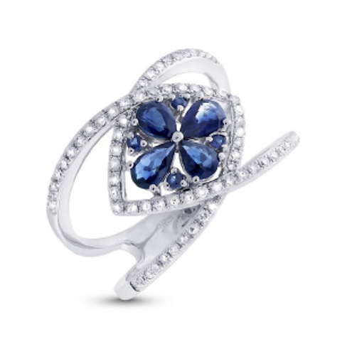 'DELICATE ROSE' Blue Sapphire Ring