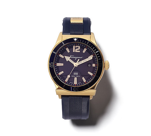 FERRAGAMO 1898 WATCH IP GOLD/BLUE