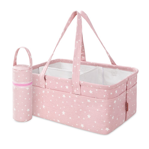 Cotton Canvas Pink Diaper Caddy