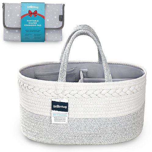Cotton Rope Diaper Caddy + Portable Changing Pad