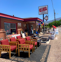 Bernalillo shop - exterior with newly donated furniture