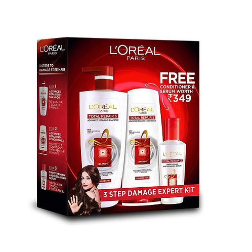 L'Oreal Paris Total Repair 5 Shampoo with Free Conditioner & Serum Worth Rs 349
