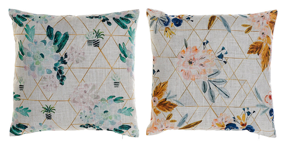 Almofada Flores Verde e Amarelo 45X12X45