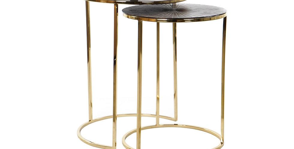 Conjunto de 2 mesas auxiliares Preto e Dourado 46,5X46,5X59