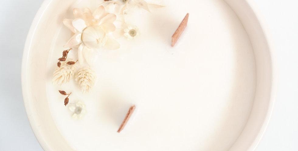 Vela artesanal de soja - Baunilha e Cedro