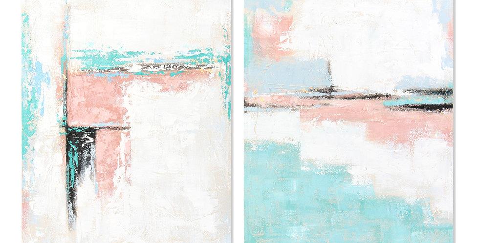 Quadro Tecido Abstrato Azul e Rosa 70X3X100