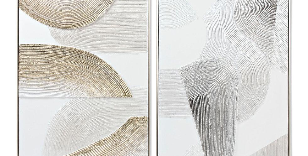 Quadro Abstrato Dourado e Prateado 60X2,8X80