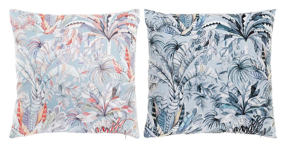 Almofada Flores Azul e Coral 40X10X40