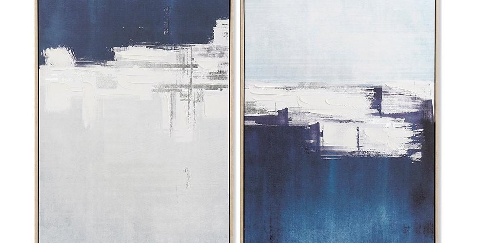 Conjunto de Tela Abstrato - Azul e Dourado