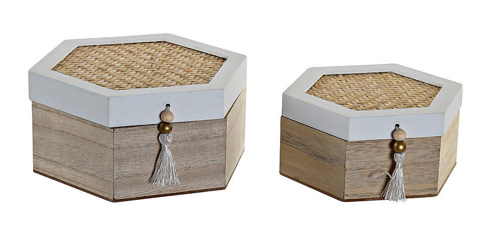 Set de 2 caixas MDF Rattan 18X16X8,5