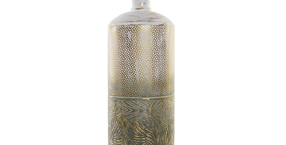 Jarro Metal 23X23X60 Folhas Dourado