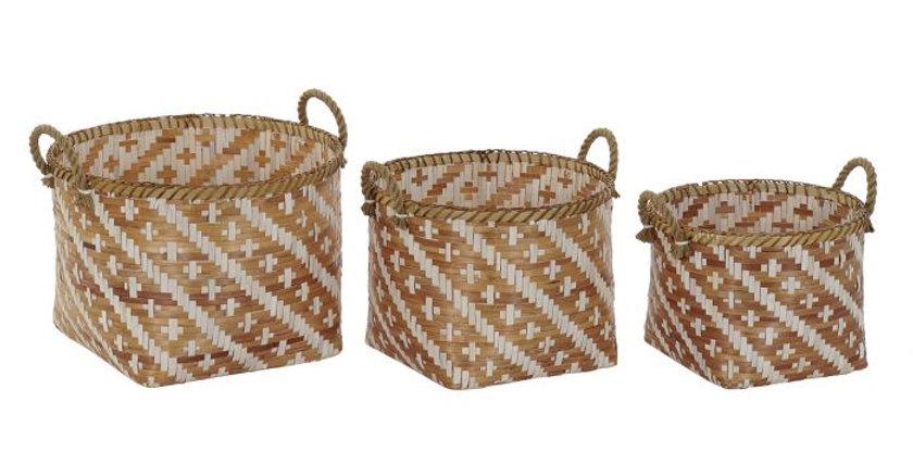 Conjunto de 3 Cestos em Bambu