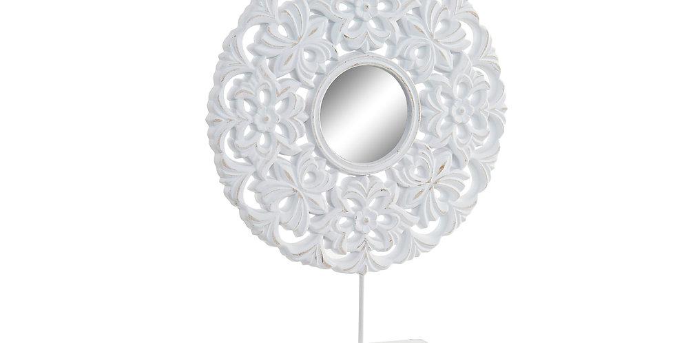 Decoração MDF com Espelho 30X6X40 Étnico Branco