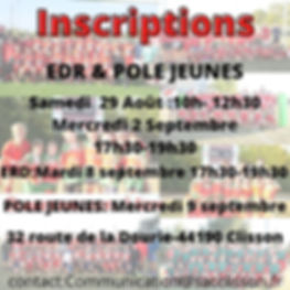 inscriptions EDR&POLE JEUNES 2020 reseau