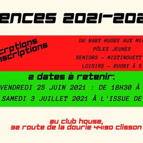 A vos agendas: Licences 2021-2022
