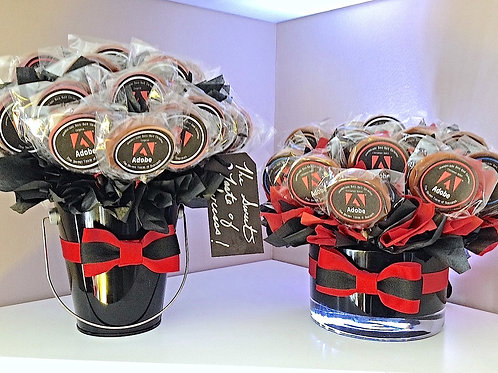 Large Grand Pops Arrangement, with customized colors & logo. (25 pops)