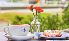 Latte + Freshly Baked Almond Croissant
