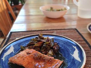 Kim's baked bakeapple-glazed salmon and wilted amaranth
