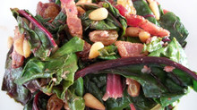 Baby Swiss Chard with bacon, pine nuts and raisins