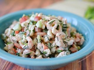 Summer Green Salad w/ Shrimp & Dill
