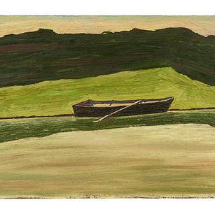 Kahn vor Wiese und Wald II, 2020-21, Öl