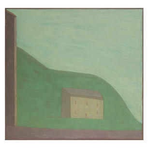 Großes und kleines Haus, 1996, Öl auf Le