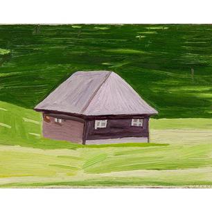 Waldhaus II, 2019, Öl auf Karton, 16 x 2