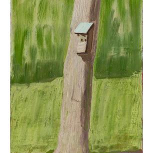 Haus am Baum I, 2021, Öl auf Karton, 29