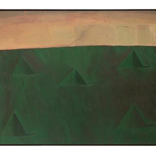 Grüne Hügellandschaft, 1986, Öl auf Lein