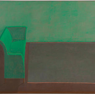 Grünes Sofa, 1982, Öl auf Leinwand, 110
