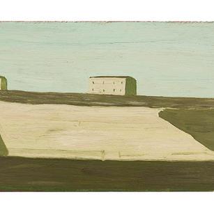 Häuserlandschaft 3-2000, Öl auf Karton,