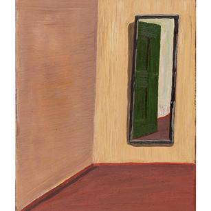 Grüne Tür im Spiegel, 2020, Öl auf Karto