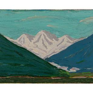 Helles Gebirge, 2018, Öl auf Karton, 15