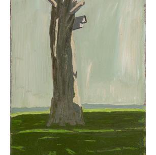 Haus am Baum II, 2021, Öl auf Karton, 29