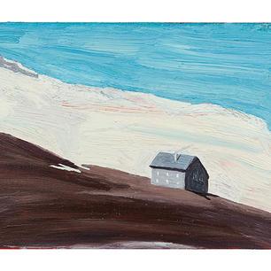 Graues Haus im Hochgebirge, 2021, Öl auf