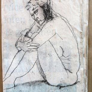 Skizzenftchen (geschlossen), m. R. 40x50, Zeitung übermalt u. genäht, Stift, 2013-21.JPG
