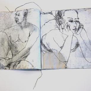 Skizzenftchen (offen), Zeitung übermalt u. genäht, Stift, 2013-21.JPG