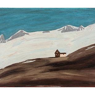 Hochgebirge mit Häusern, 2021, Öl auf Ka