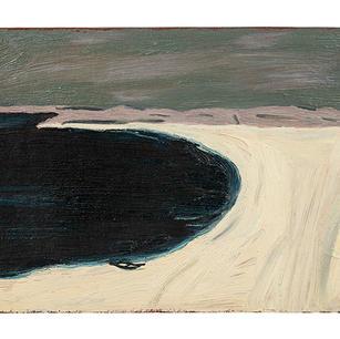 Bucht mit Kahn, 2021, Öl auf Karton, 16