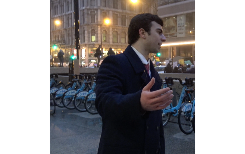 Kassem at the Presidential Inauguration Protest in Chicago