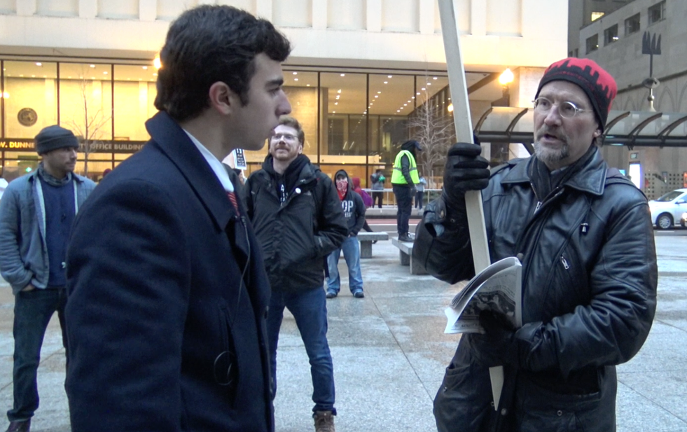 Kassem at the Presidental Inauguration Protest in Chicago